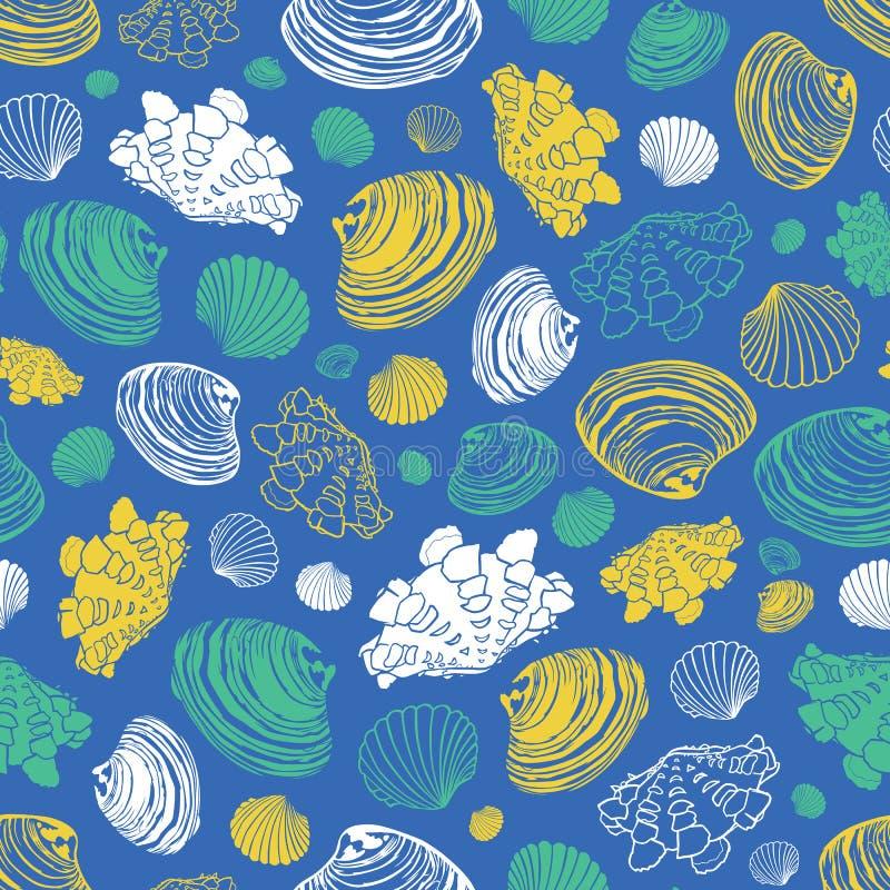 Modello blu di ripetizione di vettore con varietà di conchiglie della vongola Perfezioni per i saluti, gli inviti, la carta da im illustrazione di stock