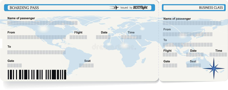 Modello blu di vettore del biglietto del passaggio di imbarco royalty illustrazione gratis