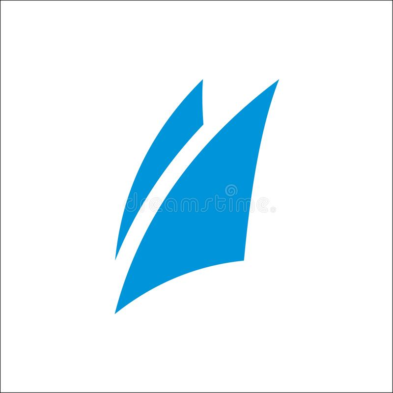 Modello blu di vettore dell'estratto dell'icona di logo della vela illustrazione vettoriale