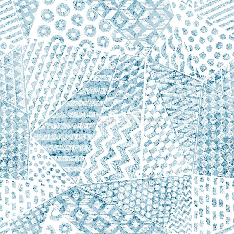 Modello blu e bianco senza cuciture nello stile della rappezzatura Disegno a matita fatto a mano su carta Stampa per i tessuti Il royalty illustrazione gratis