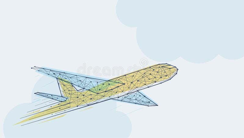 Modello blu e giallo astratto dell'aeroplano illustrazione di stock