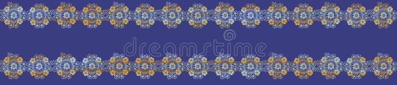 Modello blu etnico senza cuciture della banda di Paisley, insieme del confine Stampa, gessato illustrazione di stock