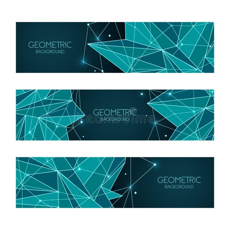 Modello blu scuro futuristico dell'estratto poligonale, poli segno basso Linee di vettore, punti e forme del triangolo, rete di c illustrazione di stock