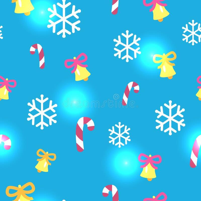 Modello blu senza cuciture con le decorazioni di Natale illustrazione vettoriale