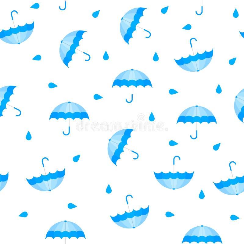 Modello blu senza cuciture dell'ombrello con le gocce Modello di autunno con pioggia Stile del fumetto royalty illustrazione gratis