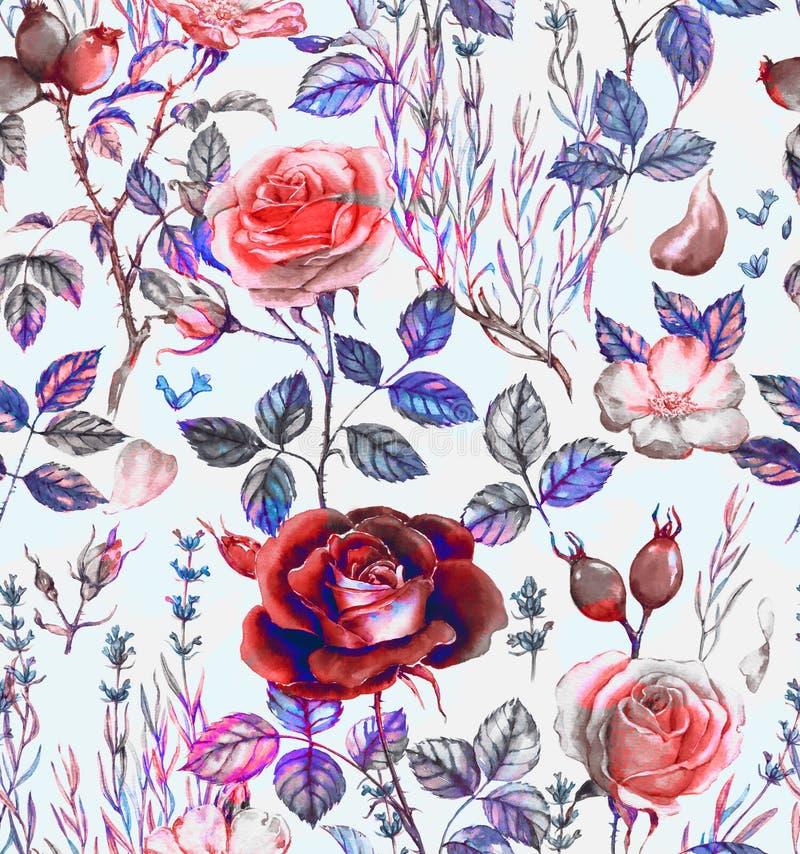 Modello botanico senza cuciture dell'acquerello disegnato a mano con differenti piante illustrazione di stock