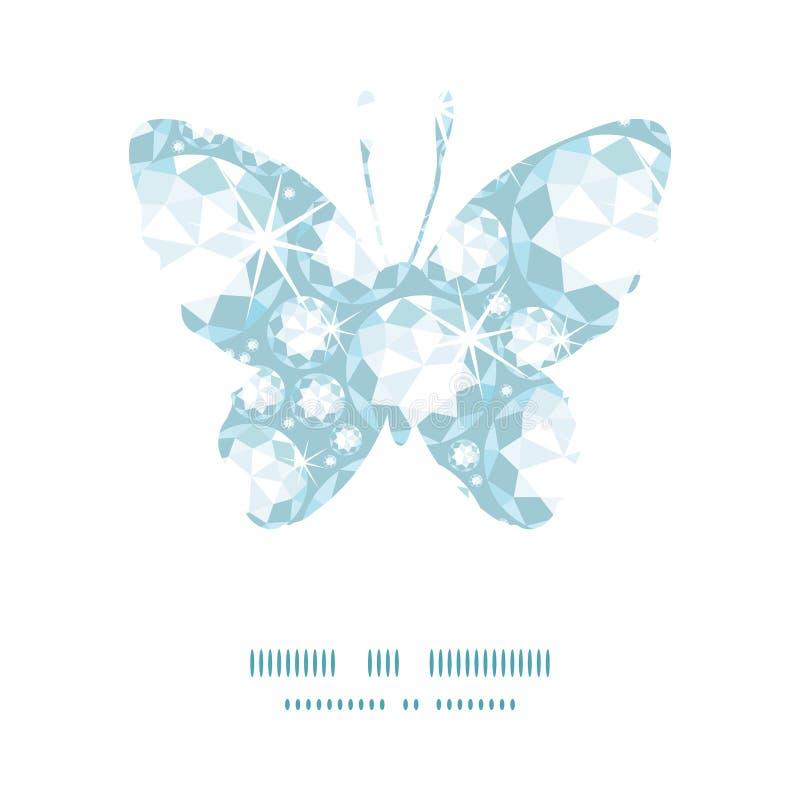 Modello brillante della siluetta della farfalla dei diamanti di vettore illustrazione di stock