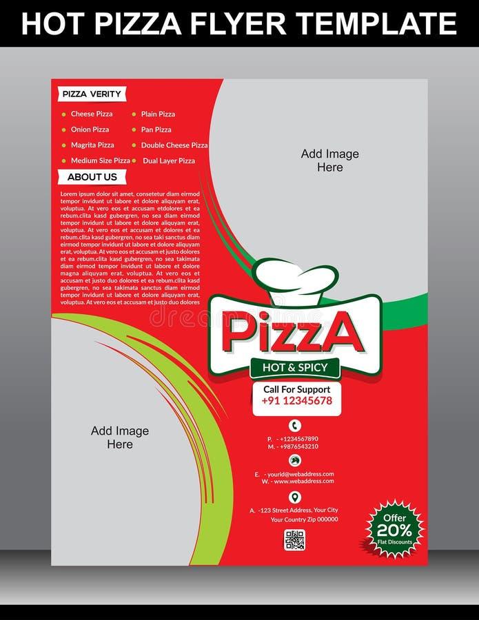 Modello caldo dell'aletta di filatoio della pizza illustrazione di stock