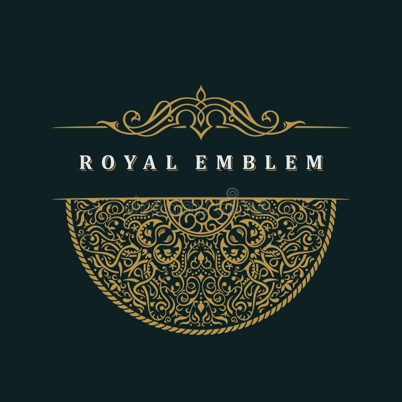 Modello calligrafico di logo di vettore Retro etichetta di lusso royalty illustrazione gratis