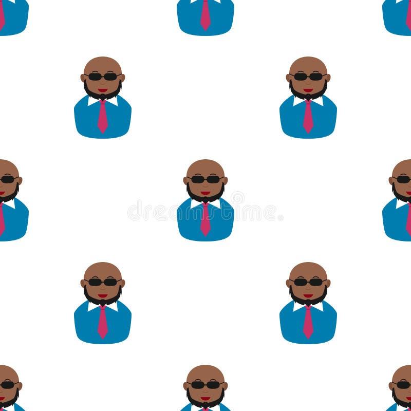 Modello calvo nero degli occhiali da sole della barba dell'uomo royalty illustrazione gratis