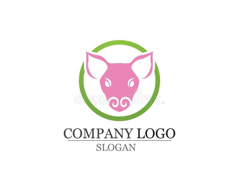 Modello capo di vettore di progettazione di logo del maiale Ristorante della griglia del BBQ della carne di maiale illustrazione vettoriale