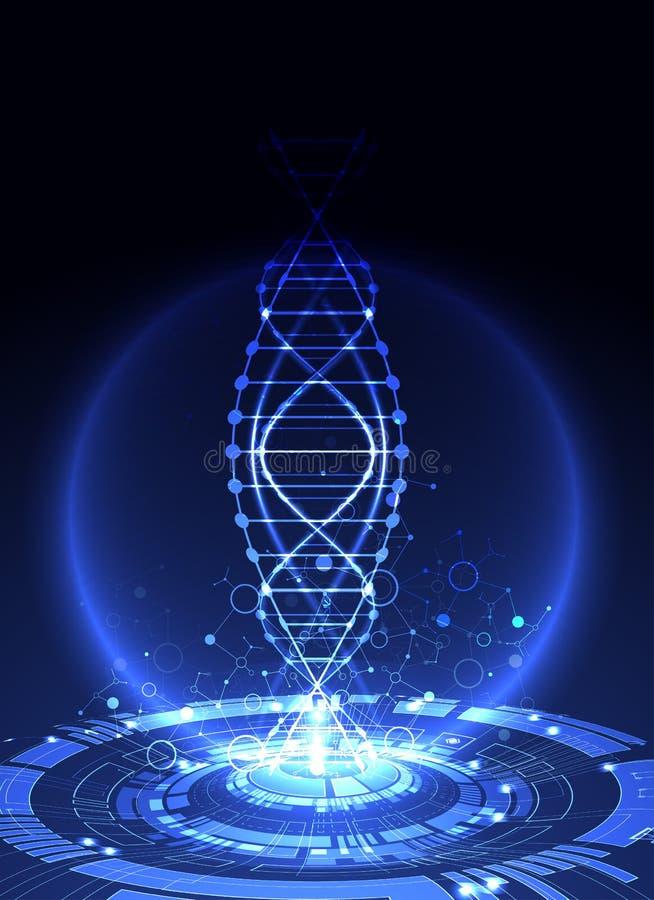 Modello, carta da parati o insegna di scienza con le molecole di un DNA illustrazione di stock