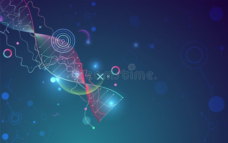 Modello, carta da parati o insegna di scienza con le molecole di un DNA illustrazione vettoriale