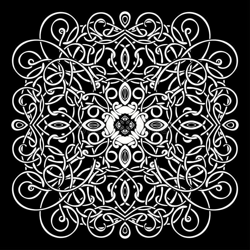 Modello celtico, ornamento di vimini di vettore, mano che disegna elemento decorativo Tessuto di vimini bianco su un fondo nero p illustrazione di stock