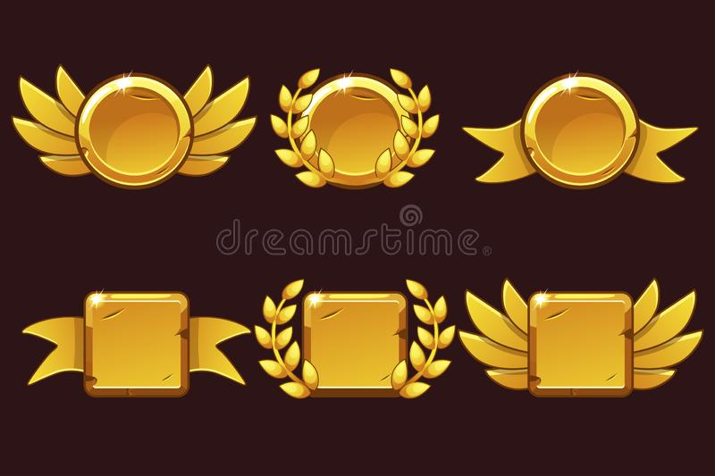 Modello che riceve risultato del gioco Illustrazione di vettore con i vecchi premi dorati Per il gioco, interfaccia utente, inseg royalty illustrazione gratis