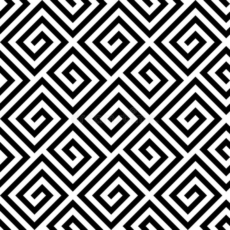 Modello chiave del cerchio greco senza cuciture in bianco e nero royalty illustrazione gratis