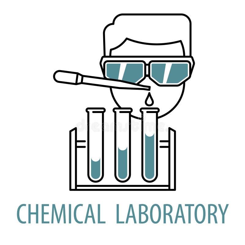 Modello chimico di logo del laboratorio illustrazione di stock