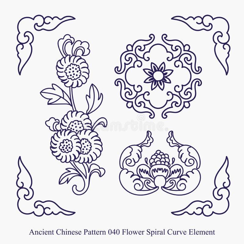 Modello cinese antico dell'elemento della curva di spirale del fiore illustrazione vettoriale