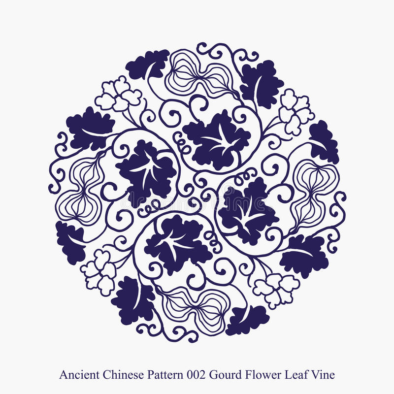 Modello cinese antico della vite della foglia del fiore della zucca illustrazione di stock