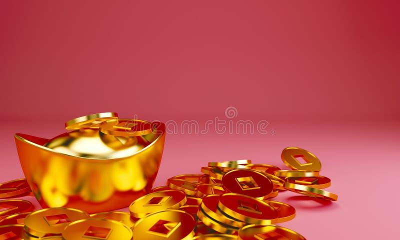 Modello cinese di progettazione di saluto del nuovo anno con i lingotti ed i mandarini dorati cinesi sul modello rosso di seigaih illustrazione vettoriale