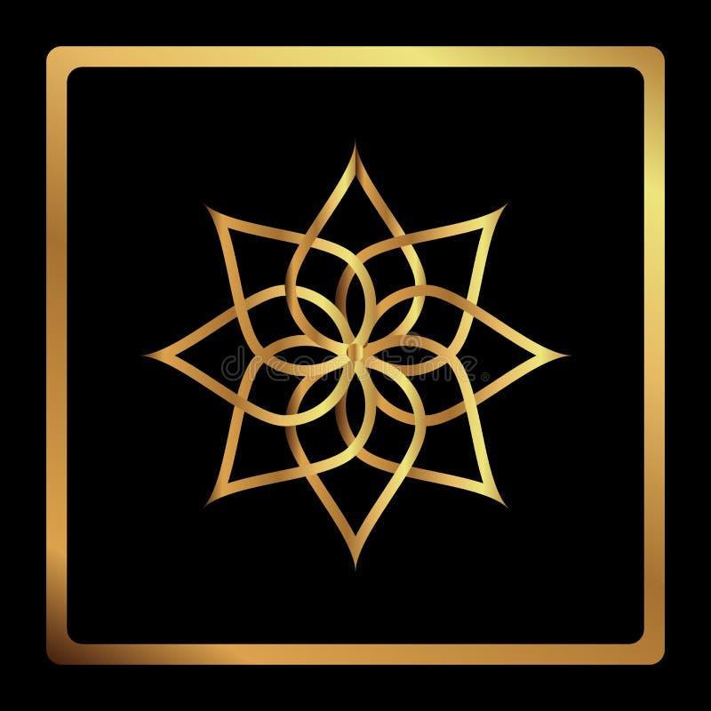 Modello circolare Icona geometrica Stella d'oro aguzza sette su fondo nero Stile moderno Illustrazione di vettore Simbolo semplic illustrazione di stock