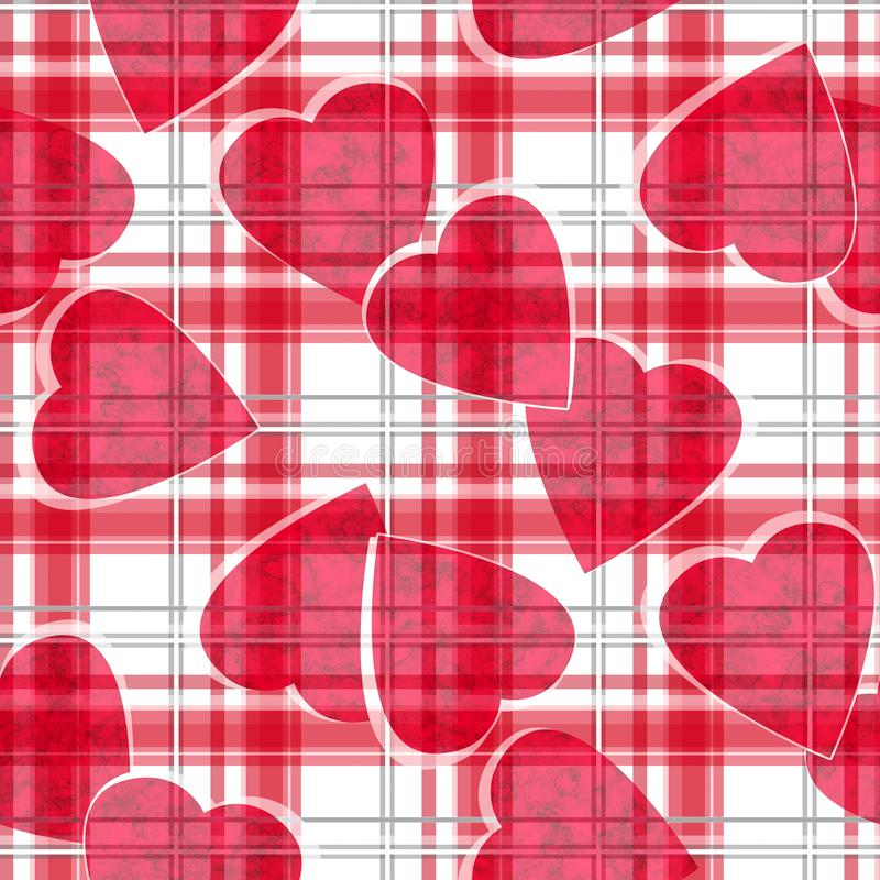 Modello ckeckered bianco del plaid di biglietti di S. Valentino dei cuori rossi senza cuciture di giorno illustrazione di stock