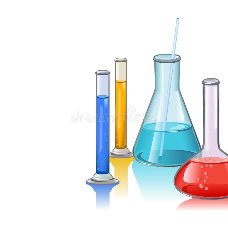 Modello colorato della cristalleria delle boccette del laboratorio illustrazione vettoriale