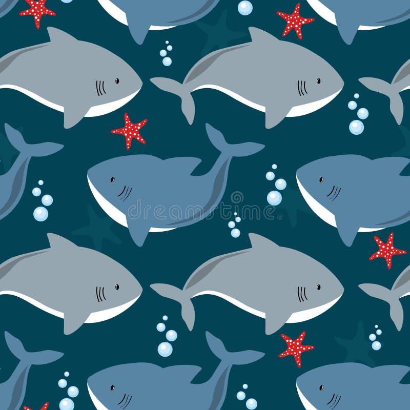 Modello colorato senza saldatura con squali, stelle del mare Sfondo decorativo carino con pesci Fotografia marina illustrazione vettoriale