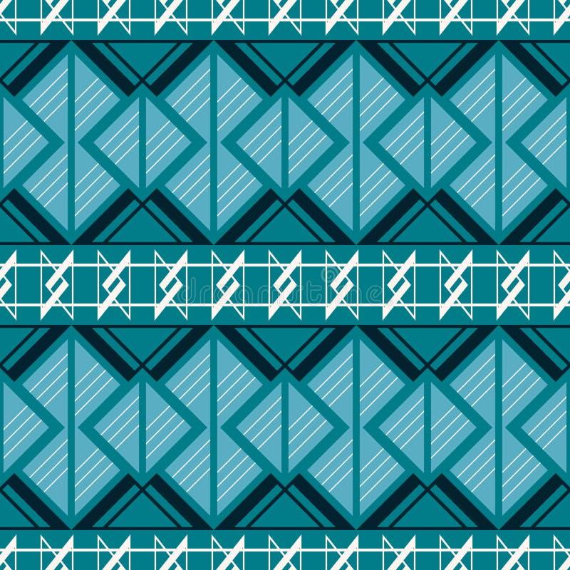 Modello complesso senza cuciture nei colori blu e bianchi illustrazione vettoriale