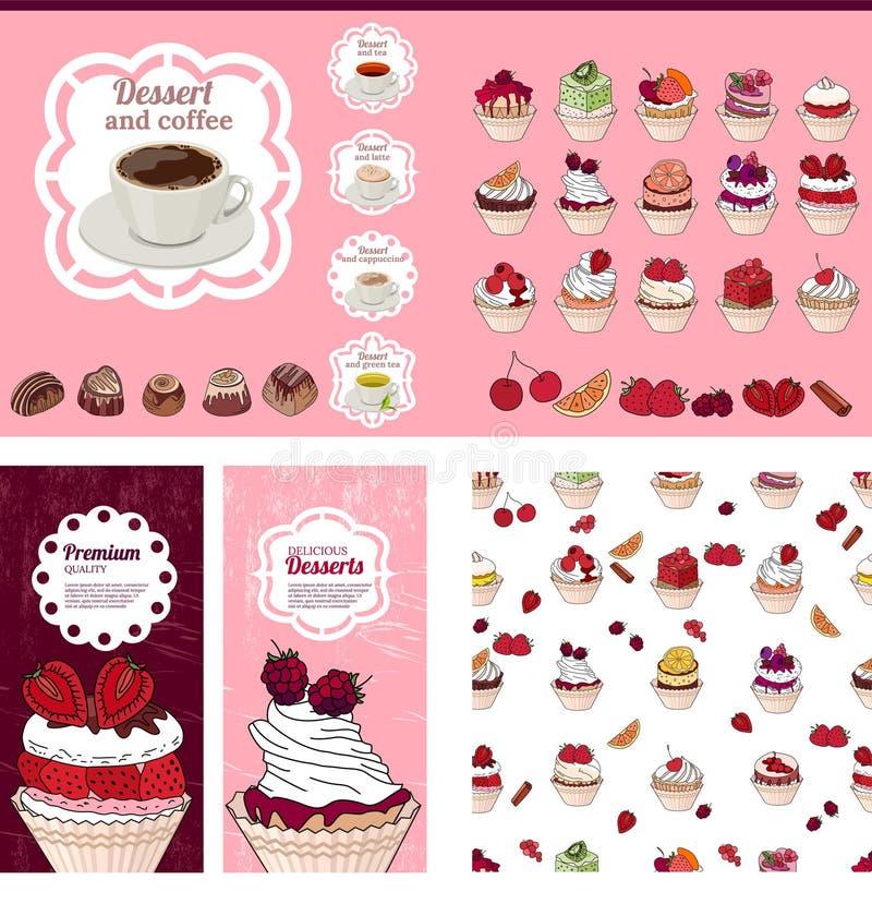 Modello con differenti dessert con i frutti illustrazione di stock