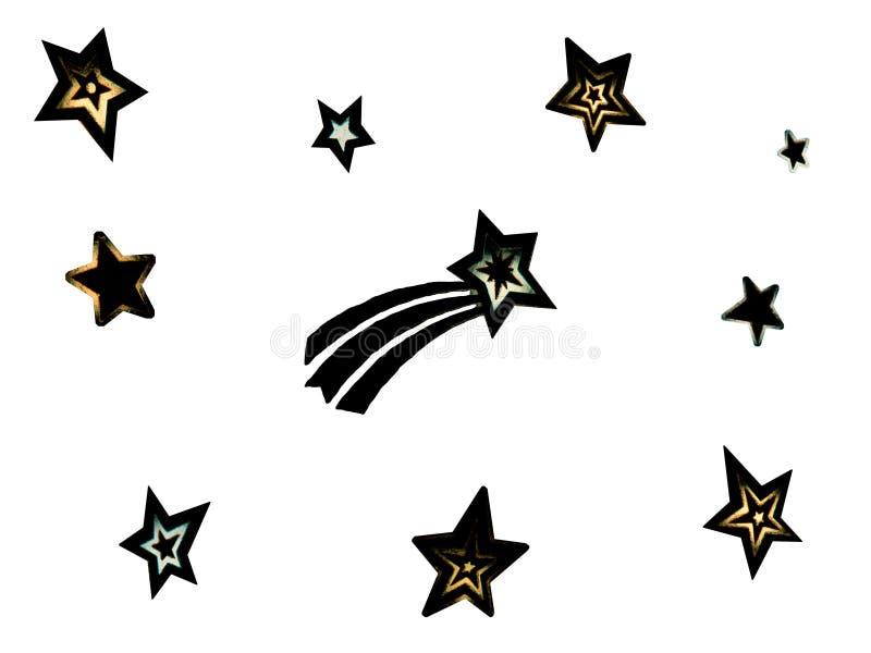 modello con differenti tipi di stelle con i bordi vaghi su fondo bianco Figure di stelle nere isolate royalty illustrazione gratis