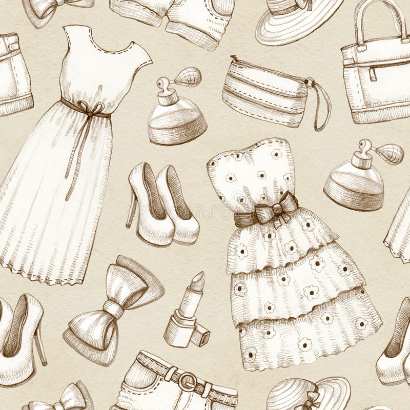Conosciuto Modello Con Disegni Dei Vestiti E Degli Accessori Illustrazione di  SR36