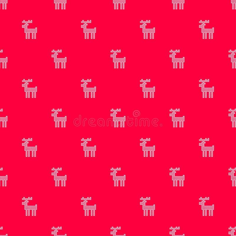 Modello con fondo rosso ed i cervi cuciti trasversali bianchi illustrazione di stock