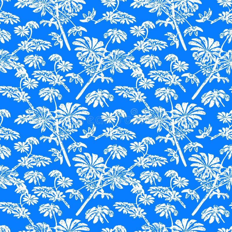 Modello con gli alberi e le foglie tropicali illustrazione di stock