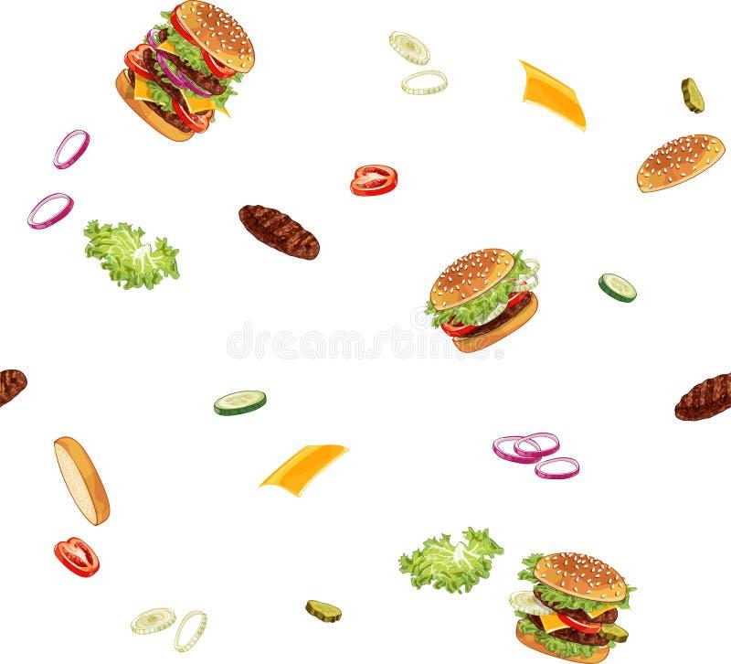 Modello con gli annunci dell'hamburger senza qualsiasi fondo fotografia stock