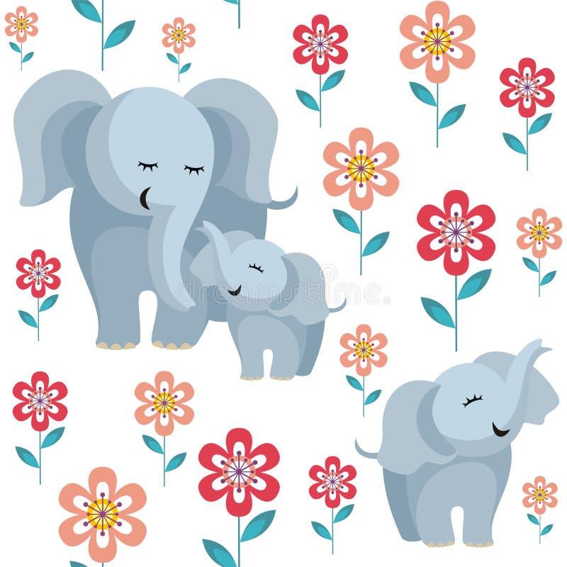 Modello con gli elefanti illustrazione vettoriale