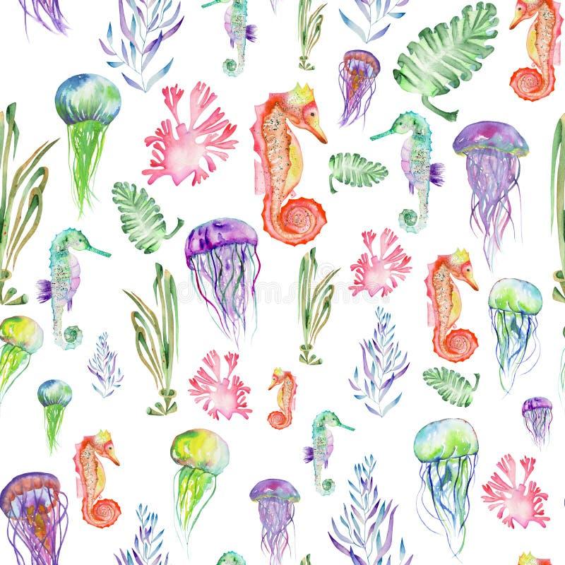 Modello con gli ippocampi dell'acquerello, le meduse e l'alga (alghe) illustrazione vettoriale