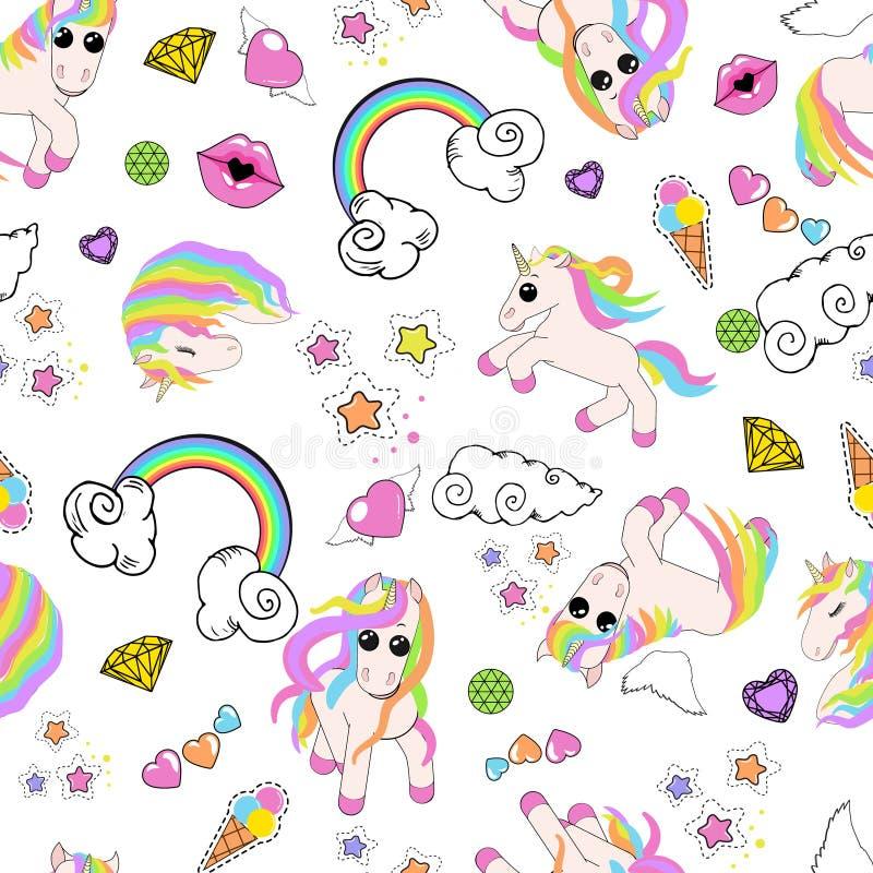 Modello con gli unicorni, arcobaleno, nuvole, cuore con le ali, labbra, stelle illustrazione di stock