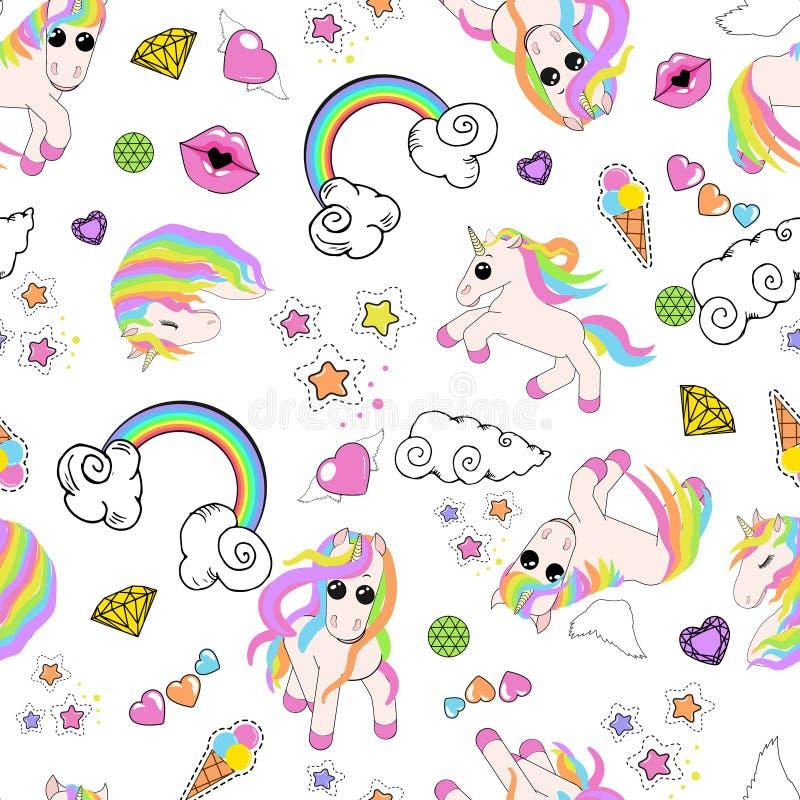 Modello con gli unicorni, arcobaleno, nuvole, cuore con le ali, labbra, stelle illustrazione vettoriale