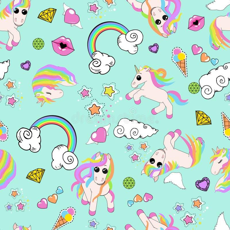Modello con gli unicorni, arcobaleno, nuvole, cuore con le ali, labbra, stelle royalty illustrazione gratis