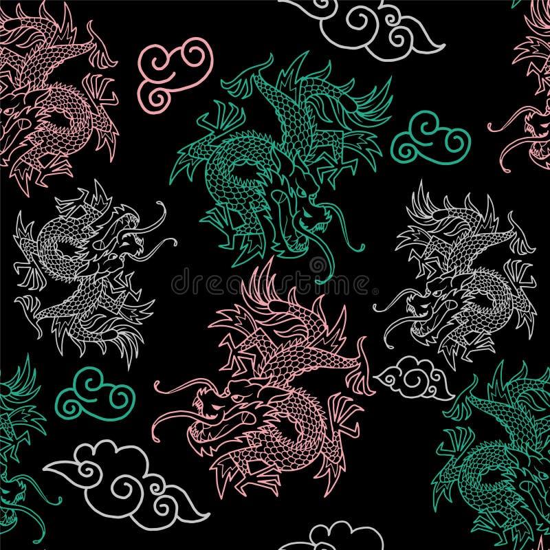 Modello con i draghi del Giappone illustrazione vettoriale