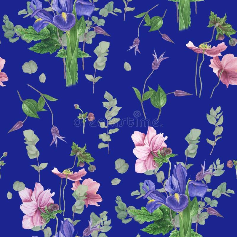 Modello con i fiori della molla, pittura dell'acquerello royalty illustrazione gratis
