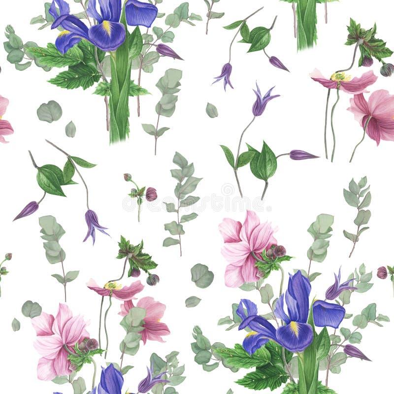 Modello con i fiori della molla, pittura dell'acquerello illustrazione vettoriale