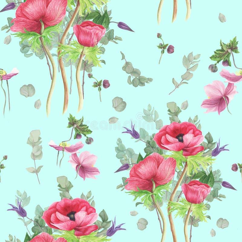 Modello con i fiori: eucalyptus rosa degli anemoni, della clematide e dei rami, pittura dell'acquerello illustrazione vettoriale
