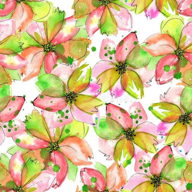 Modello con i fiori rosa e verdi dell'offerta dell'acquerello con le macchie illustrazione di stock