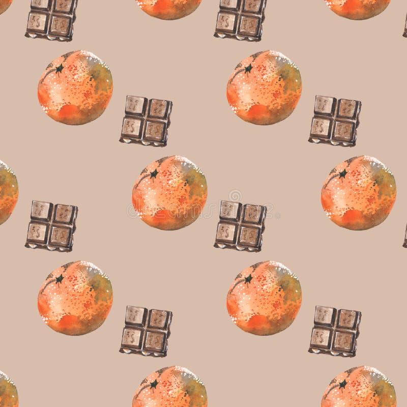 Modello con i mandarini ed il cioccolato su fondo beige illustrazione di stock