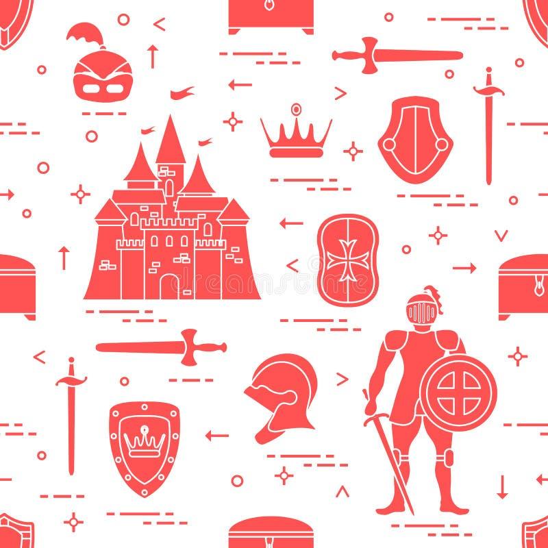 Modello con il cavaliere, il castello, le spade ed altra royalty illustrazione gratis