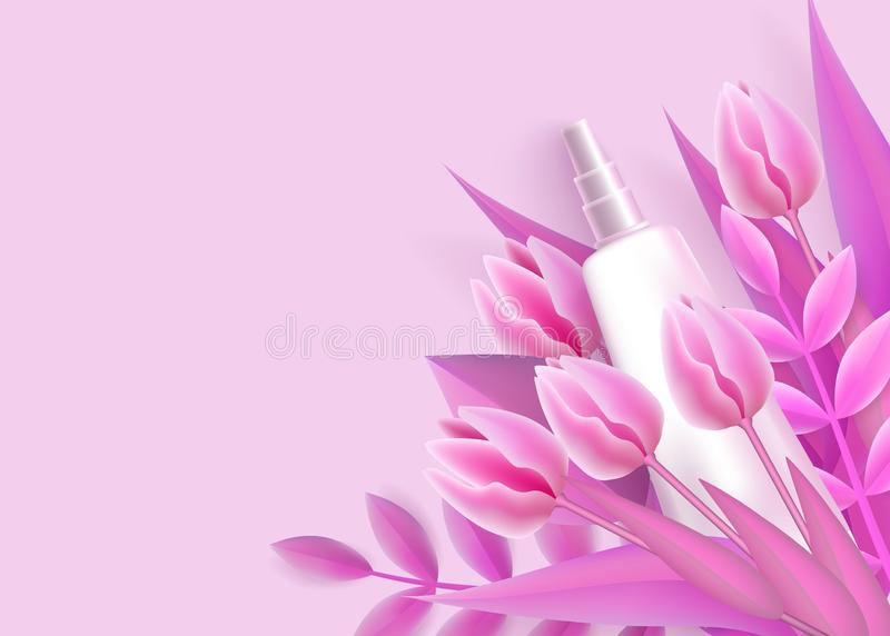 Modello con il modello d'imballaggio del tubo bianco e lo stile realistico dei fiori di rosa illustrazione vettoriale