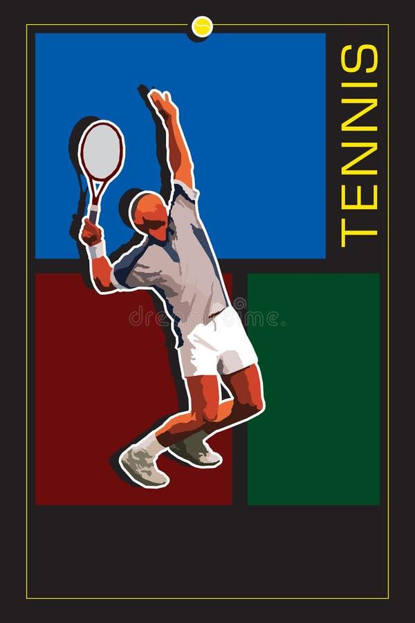 Modello con il server di tennis illustrazione vettoriale