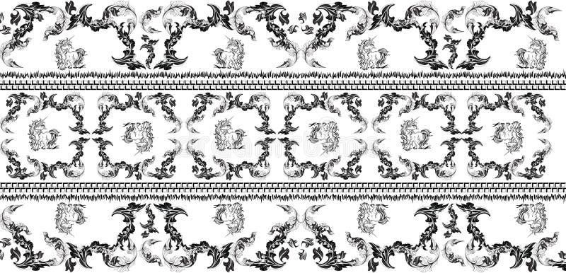 Modello con l'unicorno e le foglie nel colore nero Disegno del jacquard illustrazione di stock